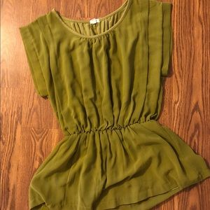 Peplum J Crew top, pretty olive green